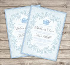 Vintage Royal Baby Blue Baby Shower Printable Invitations Sip and See Theme Party Boy Cute Modern Download Invitations pdf jpeg Prince