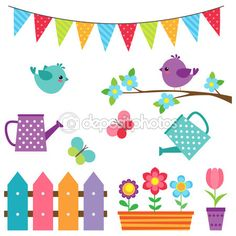 Conjunto de pássaros e flores — Ilustração de Stock #106211876