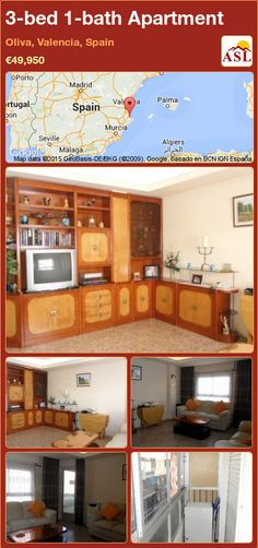 Apartment for Sale in Oliva, Valencia, Spain with 3 bedrooms, 1 bathroom - A Spanish Life Permanent Residence, Valencia Spain, Three Floor, Murcia, Apartments For Sale, Malaga, Liquor Cabinet, Flooring, Bathroom