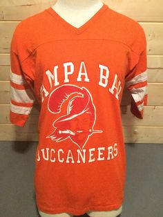 c35428701be Vintage 1980 s Tampa Bay Bucaneers Original Logo Football 50 50 Jersey T- Shirt Thin and Soft Made in USA