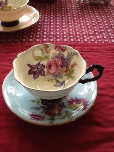 Paragon bone china tea cup England soft blue w/ flowers