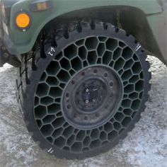 Airless tire in honeycomb design--biomimicry