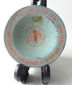 Vintage Sewing Tin D F Tayler & Co Ltd Dressmakers Steel Pins Dorcas Circa 1950s £8 #FollowVintage Nice Early Example of this particular tin...shame about the burn mark; have included as you don't see many like this...