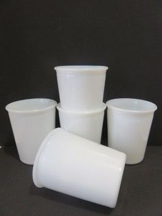 "Vintage *5* Opalescent White Milk Glass Tumblers/Juice Glasses 3.5"" #UnknownUnmarked"