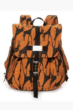"""You might get more than a few copy-cat friends when they find out the Volcom Copy Kat Orange Giraffe Print Backpack has a built-in laptop case! This hip, black over burnt orange canvas rucksack has black accents to buckle the front and snap the side pockets. Drawstring top reveals the black satin interior and padded laptop pocket. Adjustable padded straps. Silver logo plaque at front. Bag measures 16"""" tall, 15"""" wide, and 6.5"""" deep. 100% Cotton, exclusive of trim and lining."""