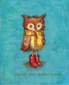 Owl's Big Red Boots 5x7 print matted to fit by JennyDaleDesigns, $23.00