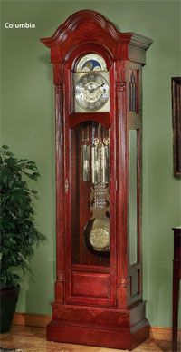 The Columbia Grandfather Clock Kit offers your choice of mechanical movement, dial, pendulum and weight shell set. The bonnet top and pedestal base, both with burl accents, adds a timeless accent to the clock. The half-rounded reeded full columns and the antique brass hardware finish off the clock perfectly.