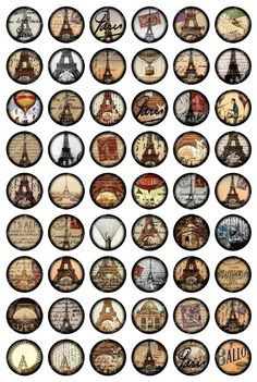 French Paris digital collage sheet in 1 inch circles for von piddix