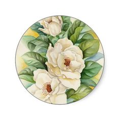 CUSTOMIZABLE!!! Magnolia Flower Watercolor Art Round Stickers. GET IT HERE http://www.zazzle.com/magnolia_flower_watercolor_art_multi_sticker-217104010390624409