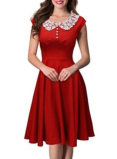Scarlet red sleeveless dress with buttons and white lace Peter Pan collar