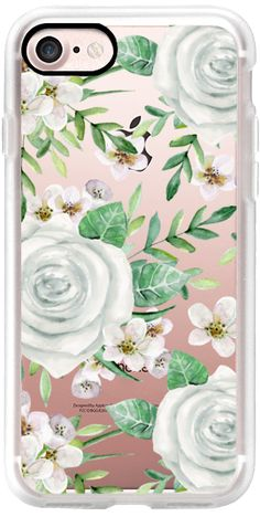Casetify iPhone 7 Classic Grip Case - White Roses. Water Color Pattern by Julia Badeeva #Casetify