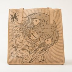 #fishing - #Leather Tote/Pisces-Zodiac Tote