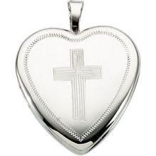 Locket ~ Heart Shaped Locket with Cross Motif Sterling Silver