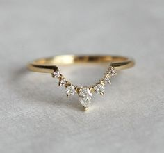 Diamond Nesting Band in Solid Gold with Prong Set Round & Pear Stones, Curved Matching Wedding Ring Diamond Wedding Band Diamond Crown Ring Curved by MinimalVS Diamond Crown Ring, White Diamond Ring, Diamond Bands, White Diamonds, Oval Diamond, Diamond Jewelry, Vintage Diamond, Matching Wedding Rings, Diamond Wedding Rings