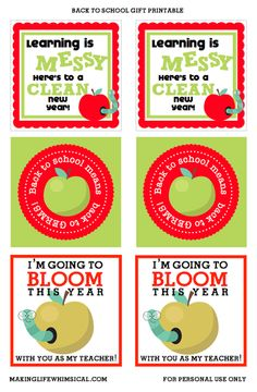 FREE Printables for Back to School Teacher gifts www.makinglifewhimsical.com