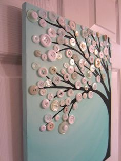 Robin's Egg Blue Button Tree Painting Original by BustedButton