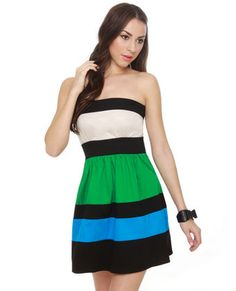 Jewel Heist Color Block Strapless Dress