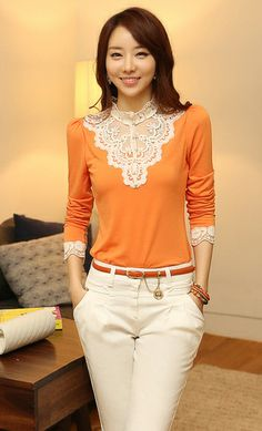 Lace collar & lace cuff three fourths sleeve women's blouse in tangerine. In my wishlist. Get a free scarf & 50% off jewelry in Christmas Offer.