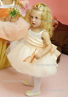 Ball Gown Scoop Knee-Length Flower Girl Dress