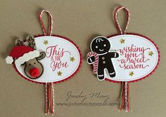 Stampin' Up! - Christmas Tags with Candy Cane Lane Suite - Judy May, Just Judy Designs