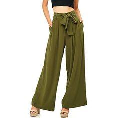 A Calin Women's Juniors Wide Leg Chiffon Pants (L, Olive)