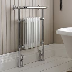 Our traditional bathroom heated towel rail radiators are high quality chrome plated frames with white column sections perfect for period bathrooms. Bathroom Towel Radiators, Bathroom Towels, Small Bathroom, Bathrooms, Bathroom Ideas, Downstairs Bathroom, Bathroom Heater, Childrens Bathroom, Family Bathroom