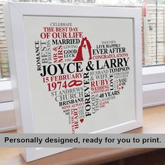 Printable File - Ruby Anniversary Word Art. Personalised gift picture. Romantic marriage present unique typography