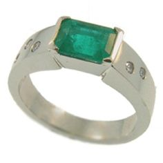 18ct White Gold Emerald & Diamond engagement ring, handmade at Cameron Jewellery