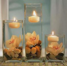 Kreative Dekorationsideen mit Kerzen modern decoration with candles in the water Floating Candles, Pillar Candles, Hanging Candles, Diy Candles, Ideas Candles, Floating Flowers, Round Candles, Bathroom Candles, Church Candles
