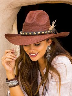 Brit West - Just Chocolate Panama Hat Estilo Cowgirl, Cowgirl Style, Brit, Country Women, Leather Jewelry, Boho Jewelry, Jewelery, Cool Hats, Country Outfits