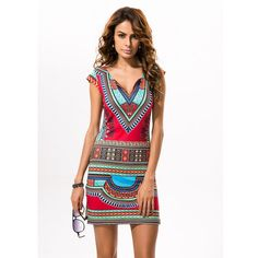 Summer TRaditional African Print V-Neck Dress