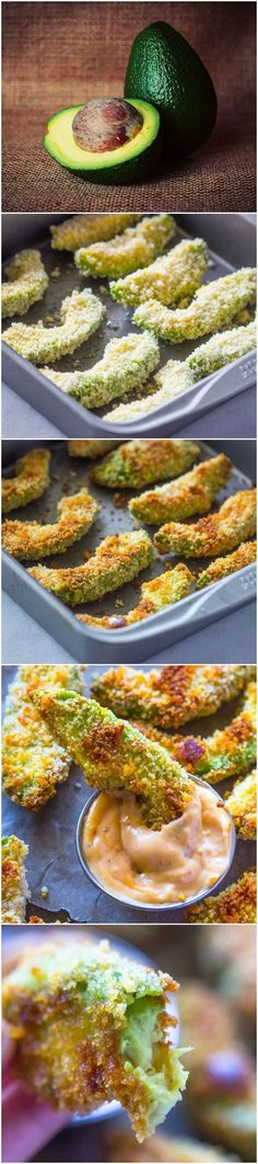 Crispy Baked Avocado Fries & Chipotle Dipping Sauce - an amazingly delicious, crunchy on the outside and creamy on the inside, delightful snack! for the gods recipe baking Crispy Baked Avocado Fries & Chipotle Dipping Sauce Avocado Recipes, Veggie Recipes, Appetizer Recipes, Vegetarian Recipes, Cooking Recipes, Healthy Recipes, Avacado Appetizers, Sauce Recipes, Cooking Tips