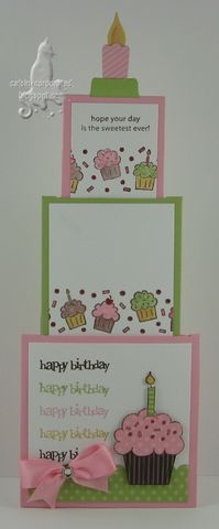 3 Tiered Nested Card- birthday card - love the big candle on the top tier and the colors - bjl