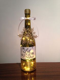 Let it Snow wine bottle lamp