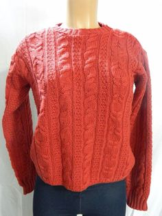 Arancrafts Women's Red Sweater Size M 100% Merino Wool    INV#0360 #Arancrafts #Cable