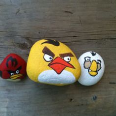 Our summer craft project to date- painted Angry Birds rocks.