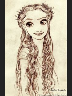 drawn-to-life: A Claire Keane drawing of Rapunzel for Disney's Tangled. Claire Keane is the daughter of Glen Keane, and Glen Keane has animated memorable characters such as. Walt Disney Animation, Disney Pixar, Art Disney, Disney Kunst, Disney And Dreamworks, Disney Love, Disney Magic, Disney Characters, Disney Wiki