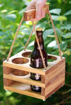 Skykishrain - Handmade Wood 4-Bottle Beer Carrier for Bombers-- Homebrew Gift. $60.00, via Etsy.