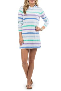 It doesnt get any more comfortable than our long-sleeve Beachcomber Stripe Dress! Kick back and relax in this soft cotton hooded t-shirt dress thats perfect as a beach cover-up or when youre lounging around. 100% Cotton Full color Skipjack embroidery on chest Contrast trim on hood and side vent Length: 34 (Based on size S) Machine wash cold tumble dry low  Beachcomber Stripe Dress by Southern Tide. Clothing - Dresses Sandestin Golf and Beach Resort Florida