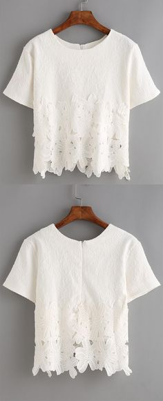 Absolutely love the delicate lace insert jacquard on this soft t-shirt. Super cute white lace tee. Best for summer/spring tee for girls.   Pretty Lace Insert Jacquard White Blouse.