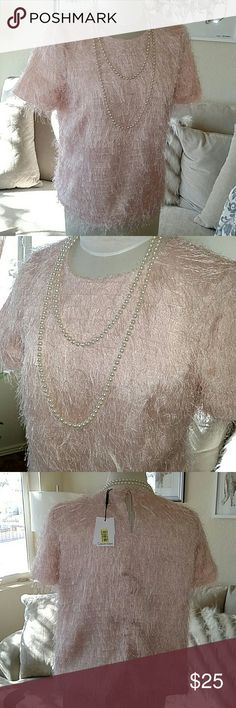 🆕Calvin Klein Pink Eyelash Sweater STUNNING pink eyelash sweater • size 8 • no tailoring around waist • fully lined • keyhole button • has a shimmer to it • by Calvin Klein • NWT Calvin Klein Sweaters