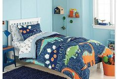 Blue, Green & Orange Dinosaurs Boys Full Comforter Set (7 Piece Bed In A Bag)  - EXCLUSIVE DEAL! BUY NOW ONLY $99.99