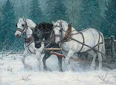 """DECEMBER SNOWFALL by Chris Cummings. """"Horses working in the snow is perhaps my favorite subject. The contrast of the colors, the detail of the horses, and the sense of overcoming adversity all make for a powerful, yet subtle picture."""""""
