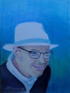 Man met witte hoed - soft pastel op papier