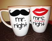 Mr. Right and Mrs. Always Right Coffee Mugs - Set of 2