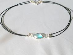 Blue glass choker, leather choker necklace