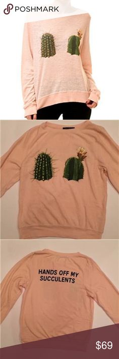 WILDFOX SWEATSHIRT HANDS OFF MY SUCCULENTS CACTUS Wildfox Sweatshirt Size XS Brand new without tag Soft pullover with a cactus graphics on the front  Back has black print:  HANDS OFF MY SUCCULENTS  Round neck Long Sleeves Pullover Polyester/rayon/spandex Wildfox Sweaters Crew & Scoop Necks