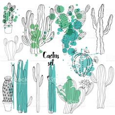 Vector watercolor cactus background royalty-free stock vector art