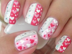 How to paint sparkly Valentine nail art manicure step by step DIY tutorial instructions | How To Instructions