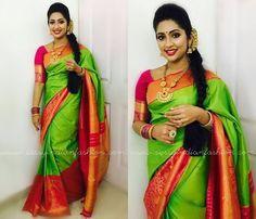 Navya Nair Green Traditional Silk Sari